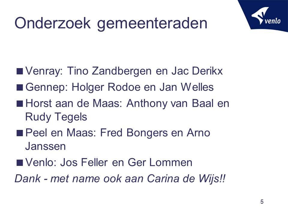 Onderzoek gemeenteraden  Venray: Tino Zandbergen en Jac Derikx  Gennep: Holger Rodoe en Jan Welles  Horst aan de Maas: Anthony van Baal en Rudy Tegels  Peel en Maas: Fred Bongers en Arno Janssen  Venlo: Jos Feller en Ger Lommen Dank - met name ook aan Carina de Wijs!.