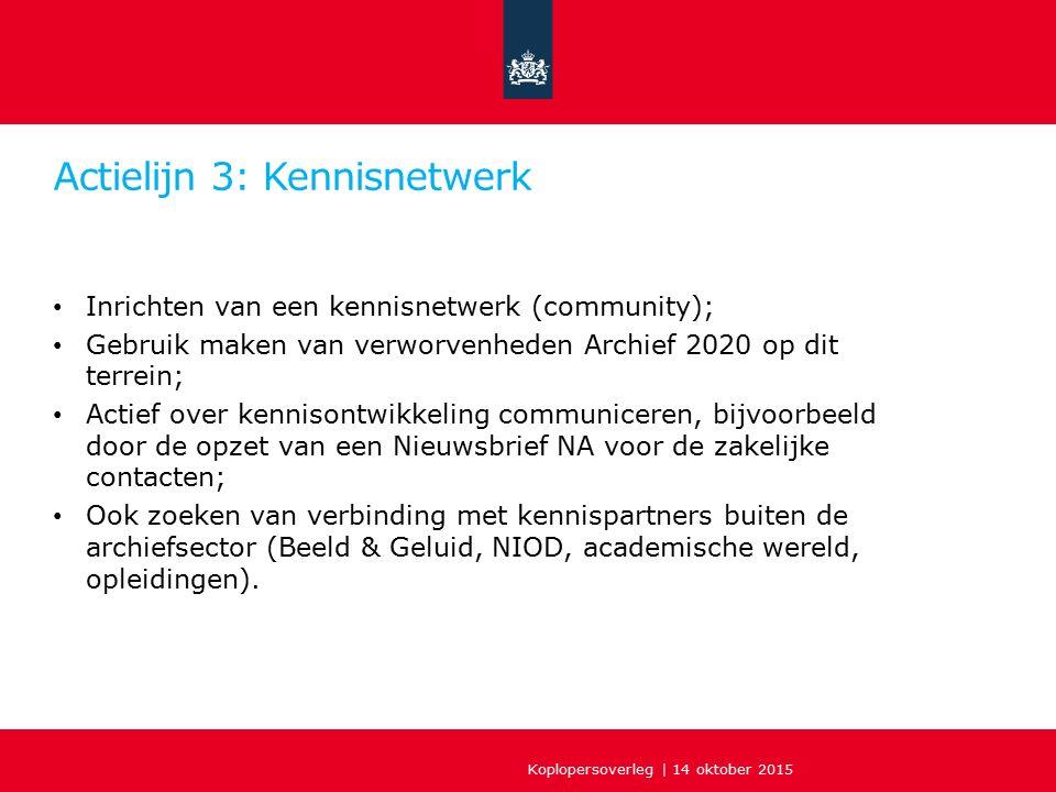 Actielijn 3: Kennisnetwerk Inrichten van een kennisnetwerk (community); Gebruik maken van verworvenheden Archief 2020 op dit terrein; Actief over kenn
