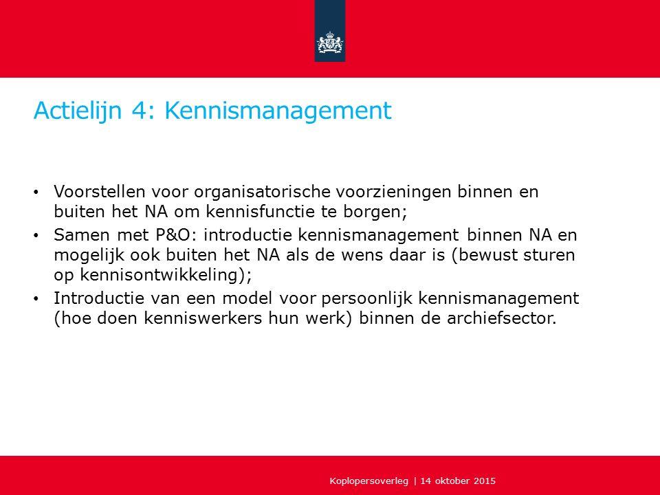 Actielijn 4: Kennismanagement Voorstellen voor organisatorische voorzieningen binnen en buiten het NA om kennisfunctie te borgen; Samen met P&O: intro