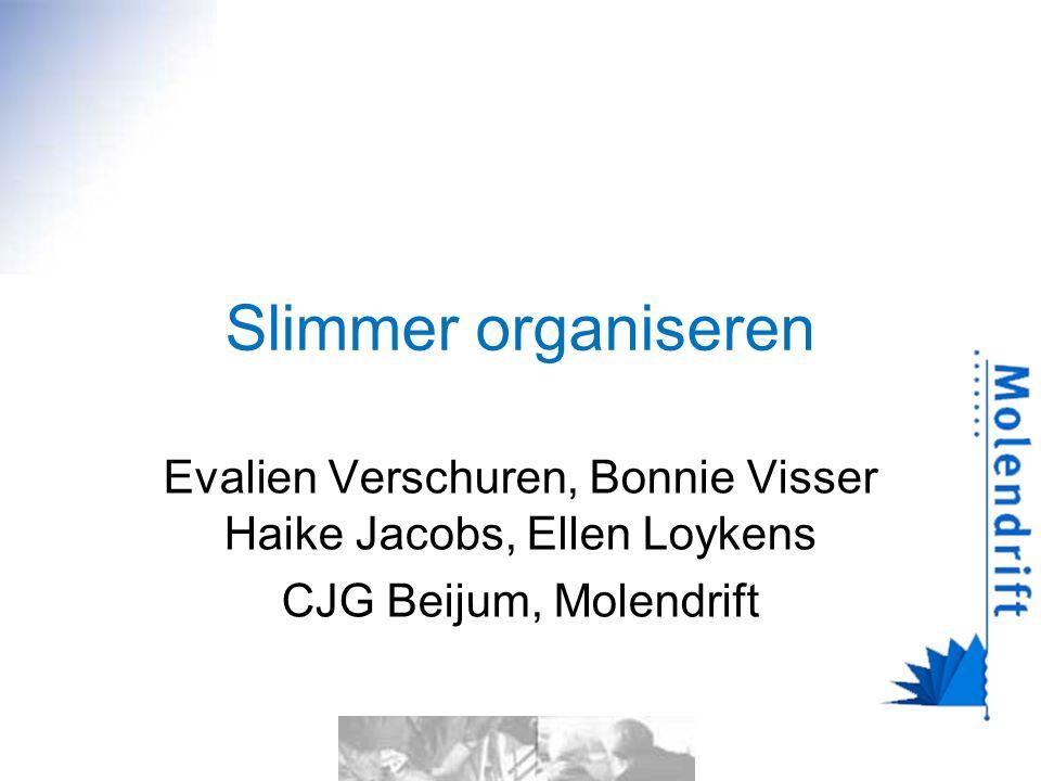 Slimmer organiseren Evalien Verschuren, Bonnie Visser Haike Jacobs, Ellen Loykens CJG Beijum, Molendrift