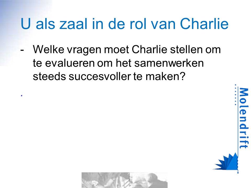 U als zaal in de rol van Charlie -Welke vragen moet Charlie stellen om te evalueren om het samenwerken steeds succesvoller te maken?.