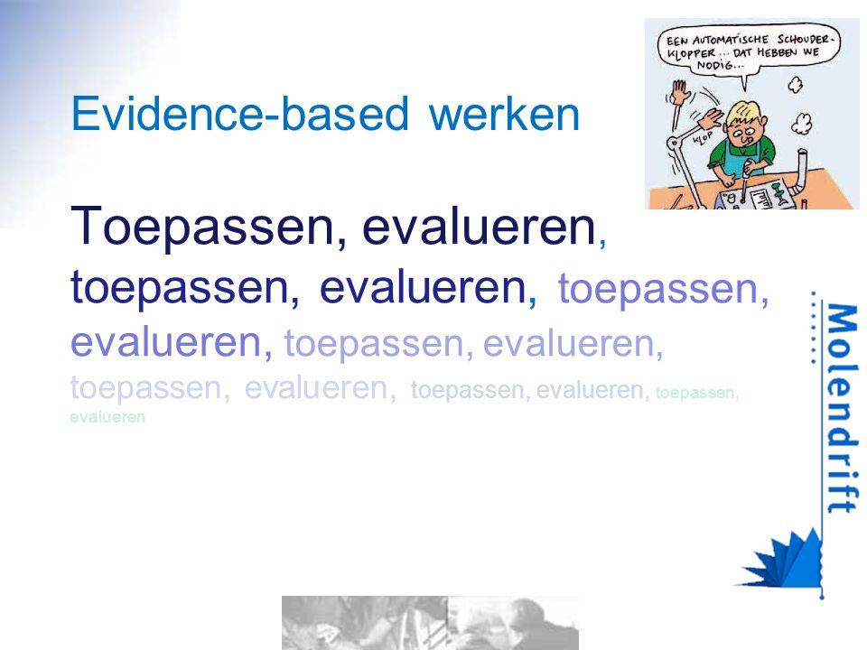 Evidence-based werken Toepassen, evalueren, toepassen, evalueren, toepassen, evalueren, toepassen, evalueren, toepassen, evalueren, toepassen, evalueren, toepassen, evalueren