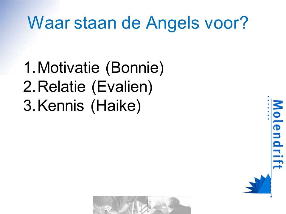 Waar staan de Angels voor? 1.Motivatie (Bonnie) 2.Relatie (Evalien) 3.Kennis (Haike)