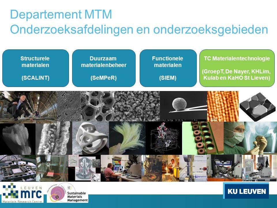 Departement MTM Onderzoeksafdelingen en onderzoeksgebieden Structurele materialen (SCALINT) Duurzaam materialenbeheer (SeMPeR) Functionele materialen (SIEM) TC Materialentechnologie (GroepT, De Nayer, KHLim, Kulab en KaHO St Lieven)