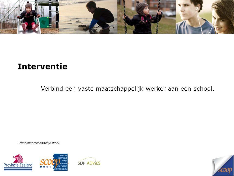 Interventie Verbind een vaste maatschappelijk werker aan een school. Schoolmaatschappelijk werk