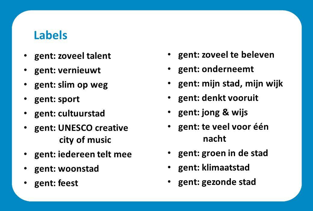 Labels gent: zoveel talent gent: vernieuwt gent: slim op weg gent: sport gent: cultuurstad gent: UNESCO creative city of music gent: iedereen telt mee