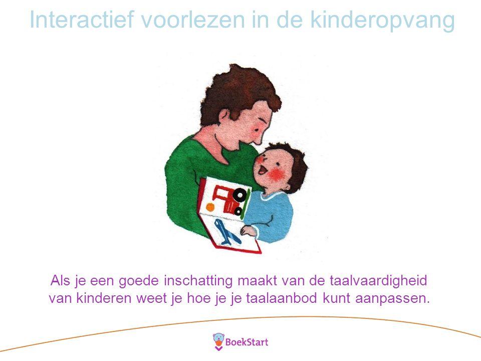 Interactief voorlezen in de kinderopvang Als je een goede inschatting maakt van de taalvaardigheid van kinderen weet je hoe je je taalaanbod kunt aanpassen.