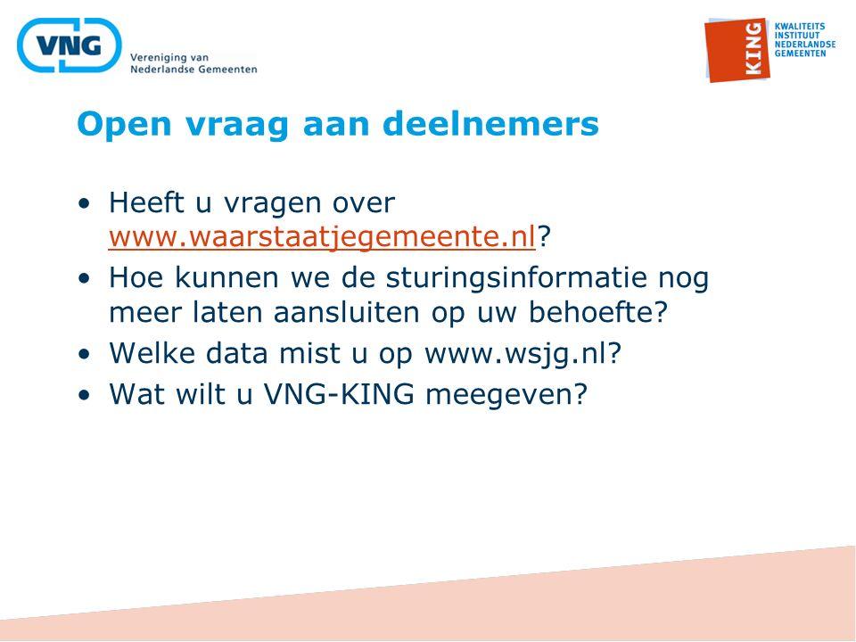 Open vraag aan deelnemers Heeft u vragen over www.waarstaatjegemeente.nl.