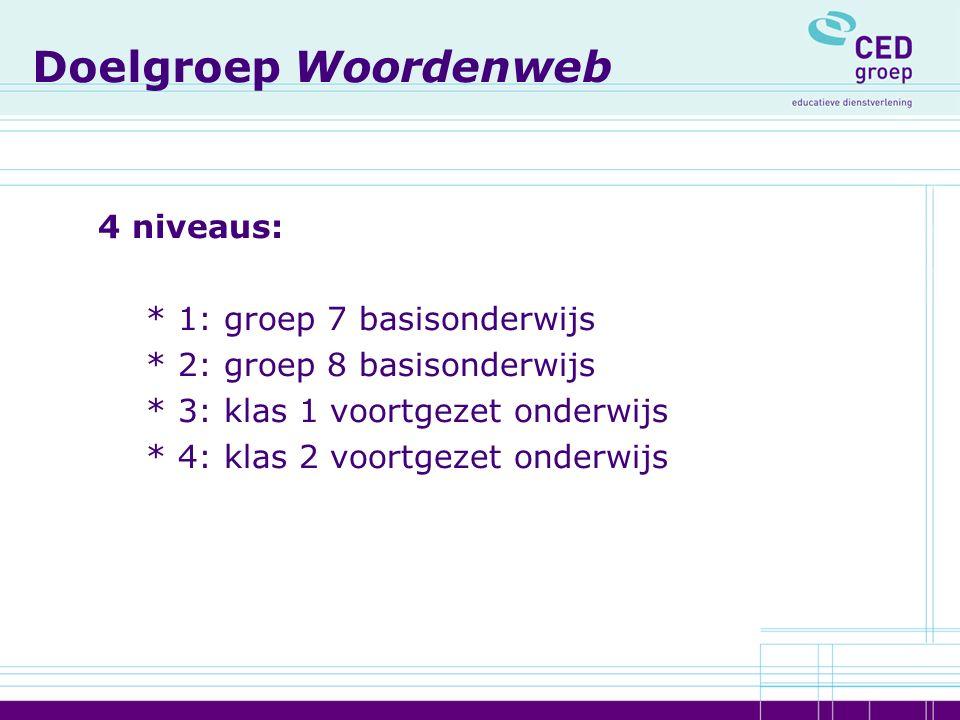 Doelgroep Woordenweb 4 niveaus: * 1: groep 7 basisonderwijs * 2: groep 8 basisonderwijs * 3: klas 1 voortgezet onderwijs * 4: klas 2 voortgezet onderw