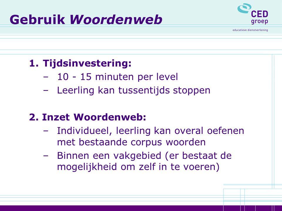 Gebruik Woordenweb 1.Tijdsinvestering: –10 - 15 minuten per level –Leerling kan tussentijds stoppen 2. Inzet Woordenweb: –Individueel, leerling kan ov