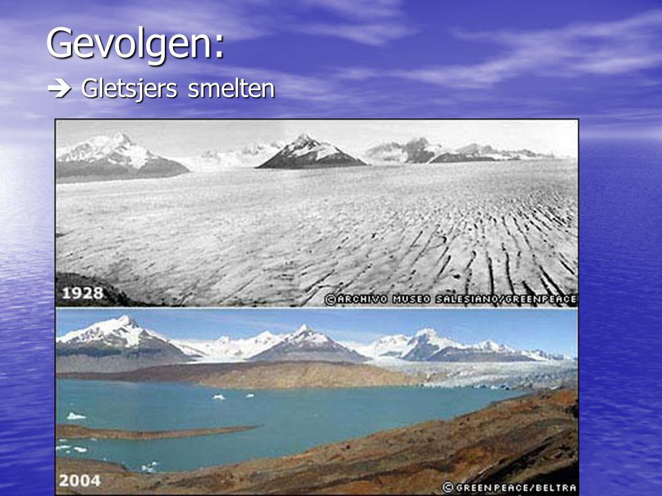 Gevolgen:  Gletsjers smelten