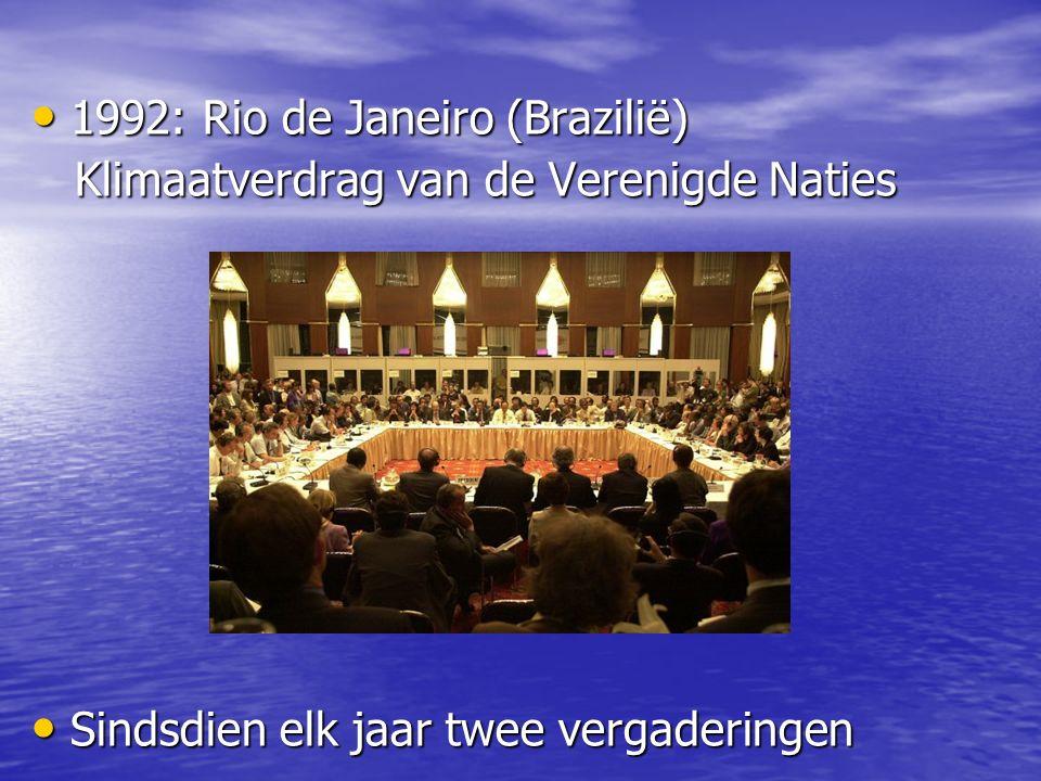 1992: Rio de Janeiro (Brazilië) 1992: Rio de Janeiro (Brazilië) Klimaatverdrag van de Verenigde Naties Klimaatverdrag van de Verenigde Naties Sindsdien elk jaar twee vergaderingen Sindsdien elk jaar twee vergaderingen