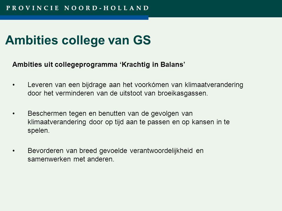 Ambities college van GS Ambities uit collegeprogramma 'Krachtig in Balans' Leveren van een bijdrage aan het voorkómen van klimaatverandering door het verminderen van de uitstoot van broeikasgassen.