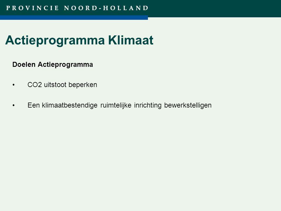 Titel presentatie (wijzigen in diamodel) Actieprogramma Klimaat Doelen Actieprogramma CO2 uitstoot beperken Een klimaatbestendige ruimtelijke inrichting bewerkstelligen