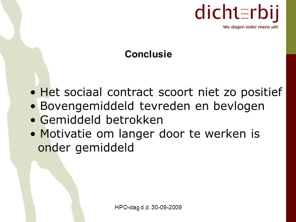 Het sociaal contract scoort niet zo positief Bovengemiddeld tevreden en bevlogen Gemiddeld betrokken Motivatie om langer door te werken is onder gemid
