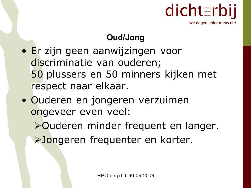 HPO-dag d.d. 30-09-2009 Oud/Jong Er zijn geen aanwijzingen voor discriminatie van ouderen; 50 plussers en 50 minners kijken met respect naar elkaar. O