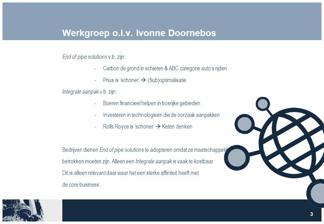 3 Werkgroep o.l.v. Ivonne Doornebos End of pipe solutions v.b. zijn: -Carbon de grond in schieten & ABC categorie auto's rijden -Prius is 'schoner' 
