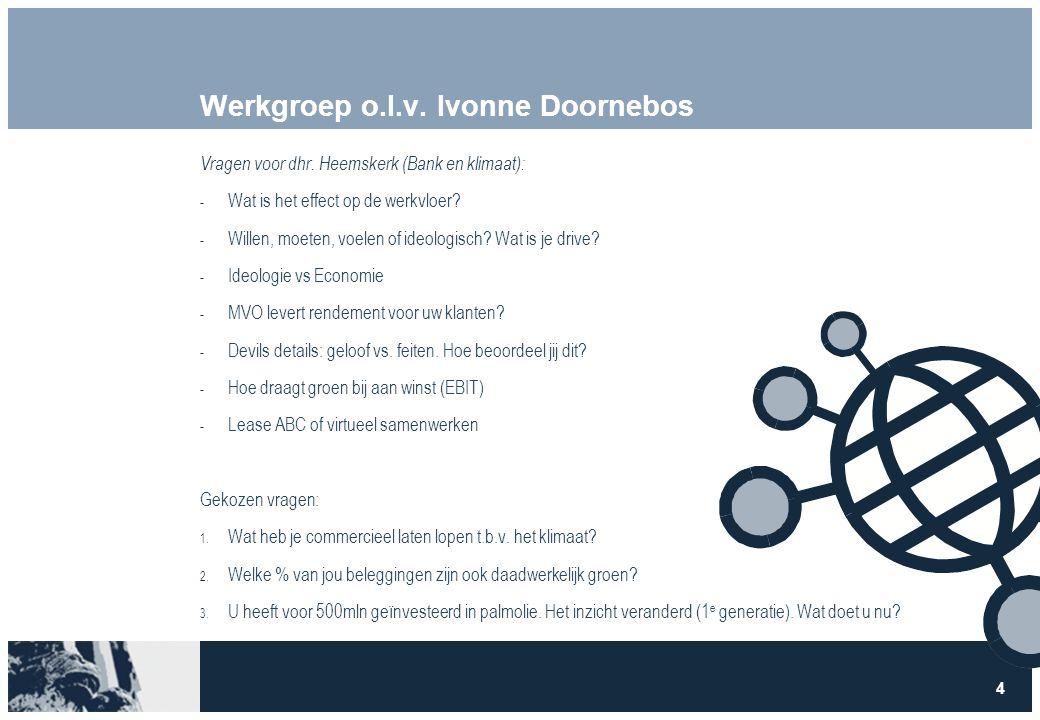 4 Werkgroep o.l.v. Ivonne Doornebos Vragen voor dhr. Heemskerk (Bank en klimaat):  Wat is het effect op de werkvloer?  Willen, moeten, voelen of ide