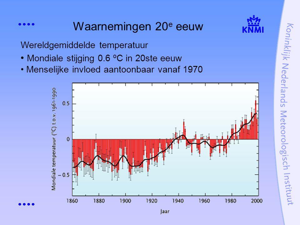 Wereldgemiddelde temperatuur Mondiale stijging 0.6 ºC in 20ste eeuw Menselijke invloed aantoonbaar vanaf 1970 Waarnemingen 20 e eeuw