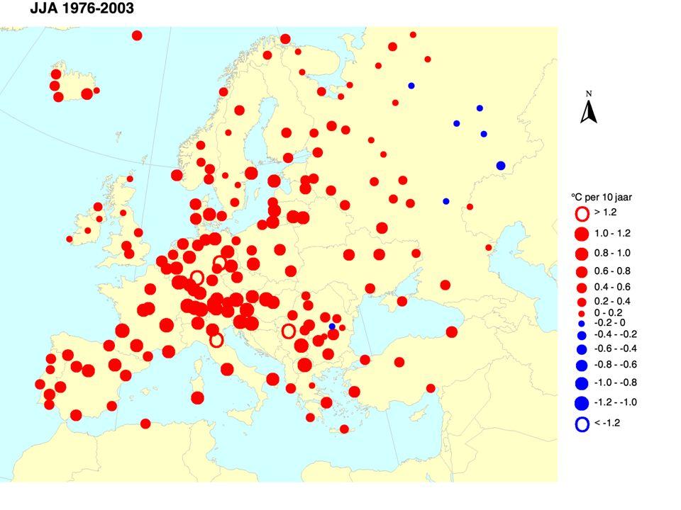 Opwarming in Europese stationstijdseries Temperatuurtrend JJA in aantal graden per 10 jaar ECA dataset, Albert Klein Tank