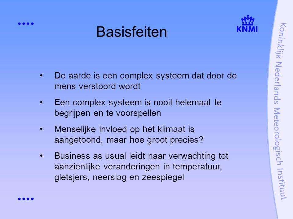 Basisfeiten De aarde is een complex systeem dat door de mens verstoord wordt Een complex systeem is nooit helemaal te begrijpen en te voorspellen Menselijke invloed op het klimaat is aangetoond, maar hoe groot precies.