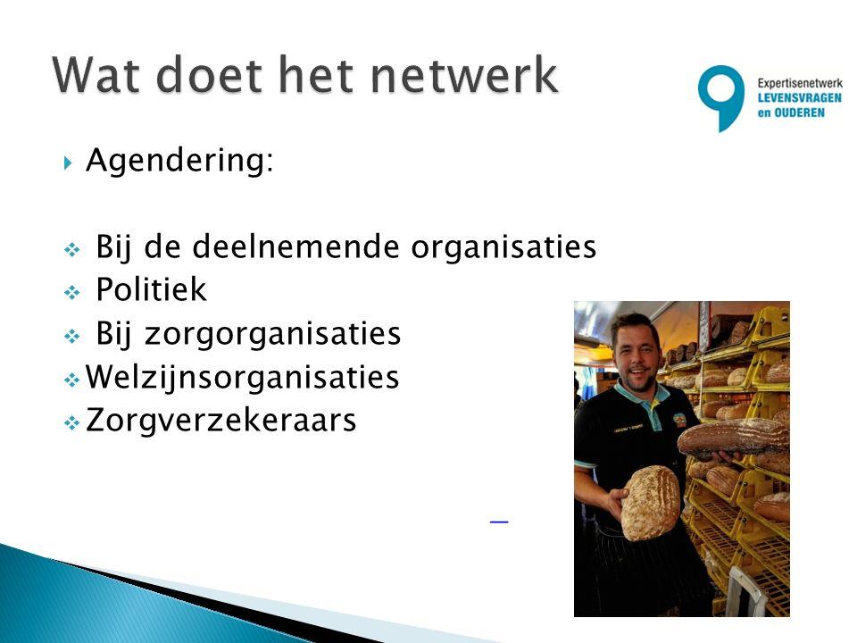  Agendering:  Bij de deelnemende organisaties  Politiek  Bij zorgorganisaties  Welzijnsorganisaties  Zorgverzekeraars
