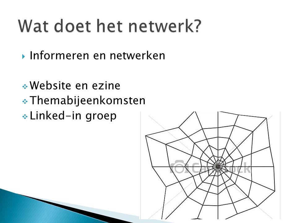  Informeren en netwerken  Website en ezine  Themabijeenkomsten  Linked-in groep