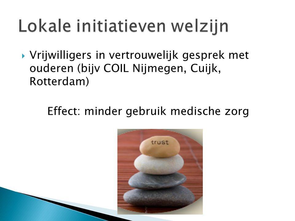  Vrijwilligers in vertrouwelijk gesprek met ouderen (bijv COIL Nijmegen, Cuijk, Rotterdam) Effect: minder gebruik medische zorg