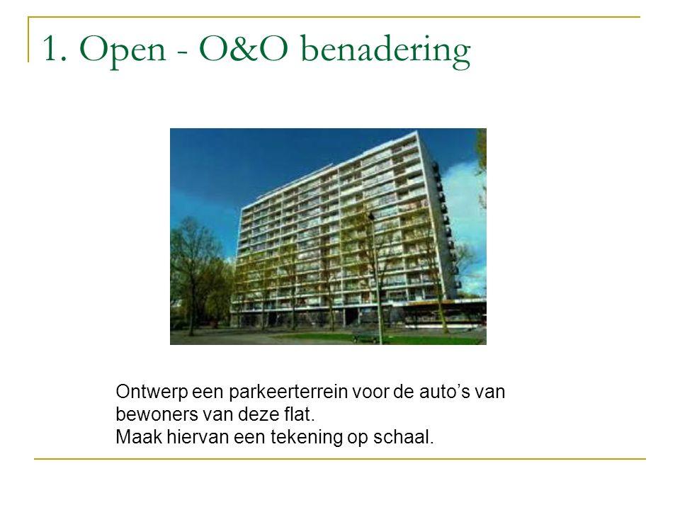 1. Open - O&O benadering Ontwerp een parkeerterrein voor de auto's van bewoners van deze flat. Maak hiervan een tekening op schaal.