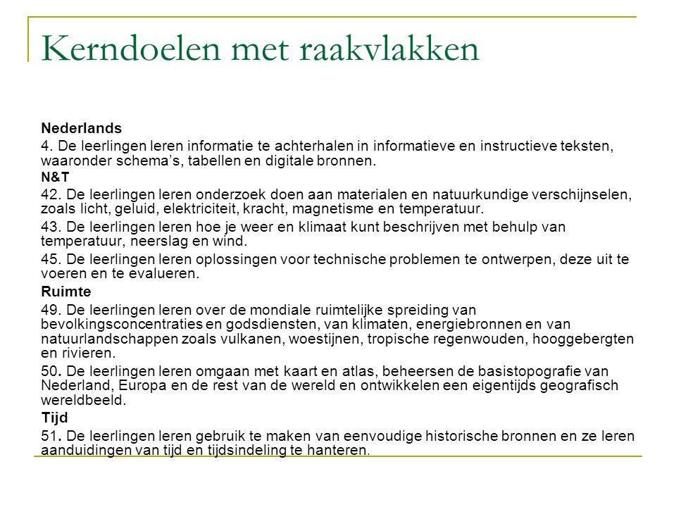 Kerndoelen met raakvlakken Nederlands 4. De leerlingen leren informatie te achterhalen in informatieve en instructieve teksten, waaronder schema's, ta