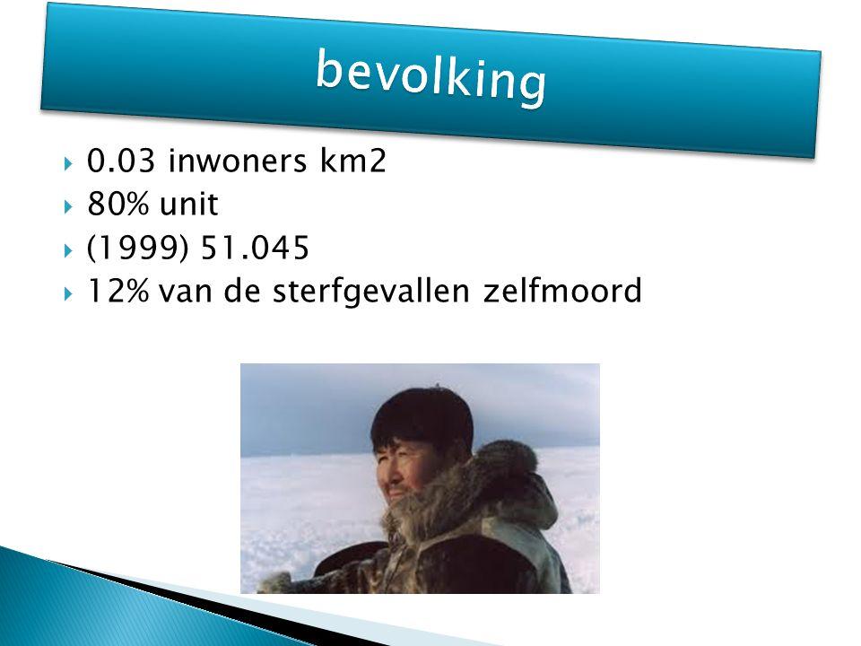  0.03 inwoners km2  80% unit  (1999) 51.045  12% van de sterfgevallen zelfmoord