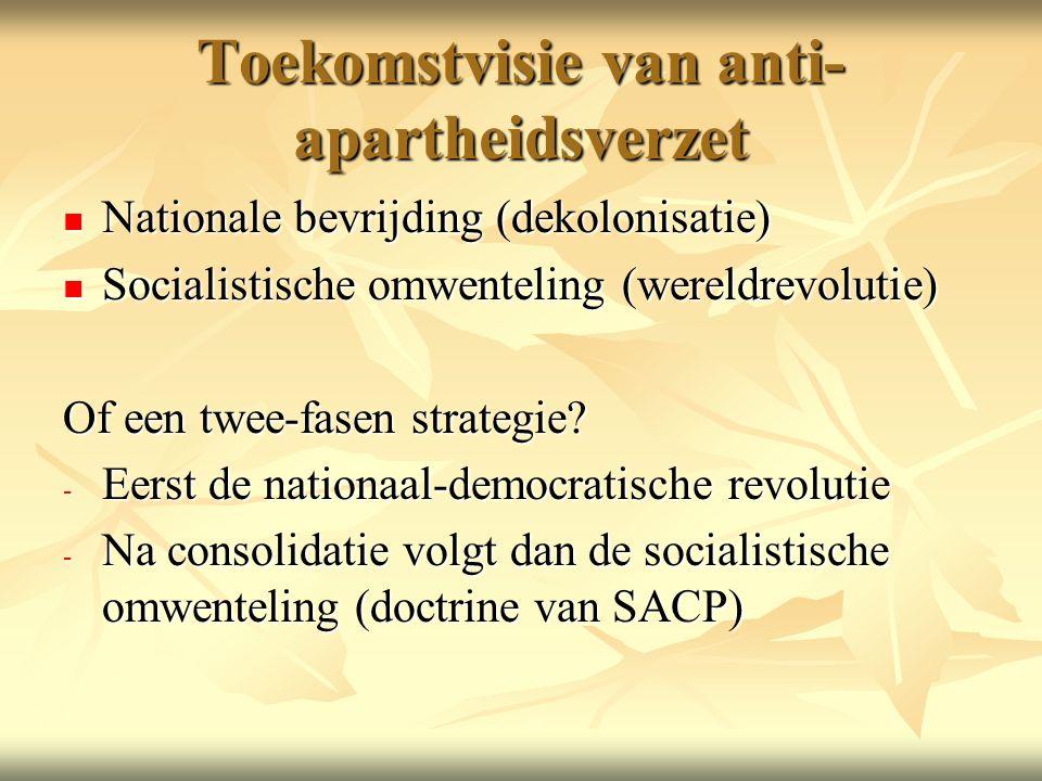 Toekomstvisie van anti- apartheidsverzet Nationale bevrijding (dekolonisatie) Nationale bevrijding (dekolonisatie) Socialistische omwenteling (wereldrevolutie) Socialistische omwenteling (wereldrevolutie) Of een twee-fasen strategie.