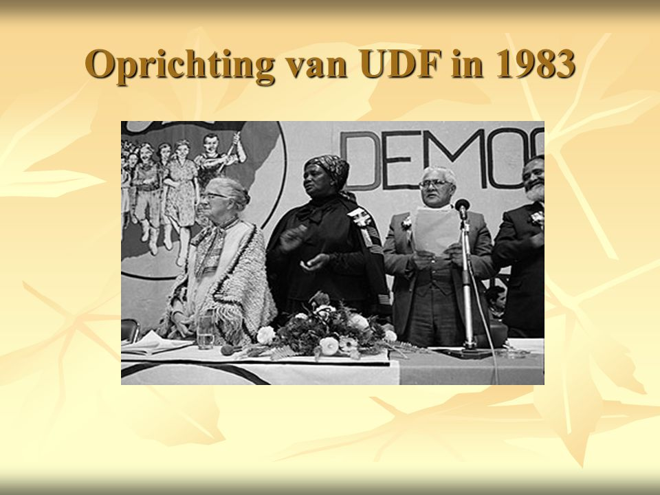 Oprichting van UDF in 1983