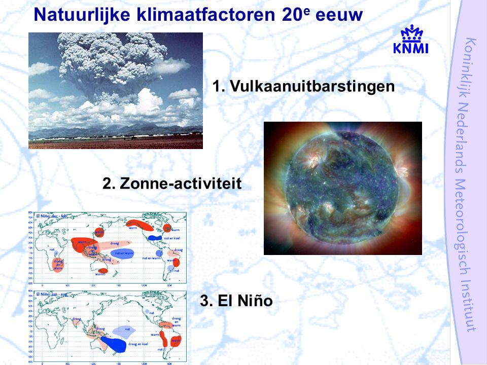 Natuurlijke klimaatfactoren 20 e eeuw 1. Vulkaanuitbarstingen 2. Zonne-activiteit 3. El Niño