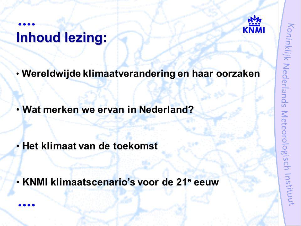 Oorzaken van klimaatverandering: natuurlijk en antropogeen Waarnemingen: atmosfeer, oceaan, ijsbedekking Inzicht in oorzaak-gevolg relaties: terugkoppelingen en kringlopen Projecties: mondiaal én regionaal gegeven een set van emissiescenario's (WG3) IPCC WG1 rapport beschrijft huidige kennis en inzichten op het gebied van: