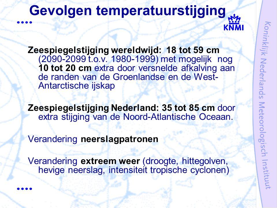 Gevolgen temperatuurstijging Zeespiegelstijging wereldwijd: 18 tot 59 cm (2090-2099 t.o.v.