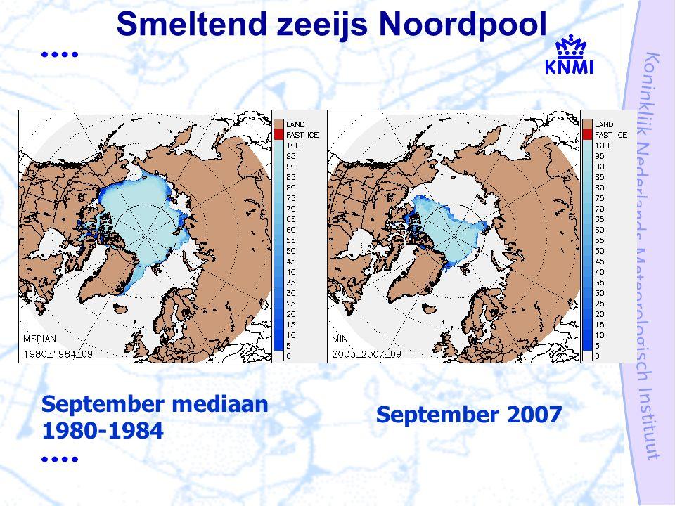 Smeltend zeeijs Noordpool September mediaan 1980-1984 September 2007