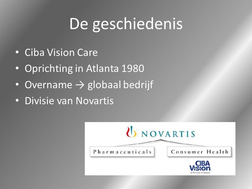 De geschiedenis Ciba Vision Care Oprichting in Atlanta 1980 Overname → globaal bedrijf Divisie van Novartis