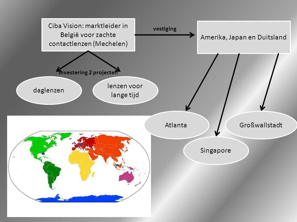 Ciba Vision: marktleider in België voor zachte contactlenzen (Mechelen) daglenzen lenzen voor lange tijd Investering 2 projecten Amerika, Japan en Duitsland vestiging Singapore GroßwallstadtAtlanta