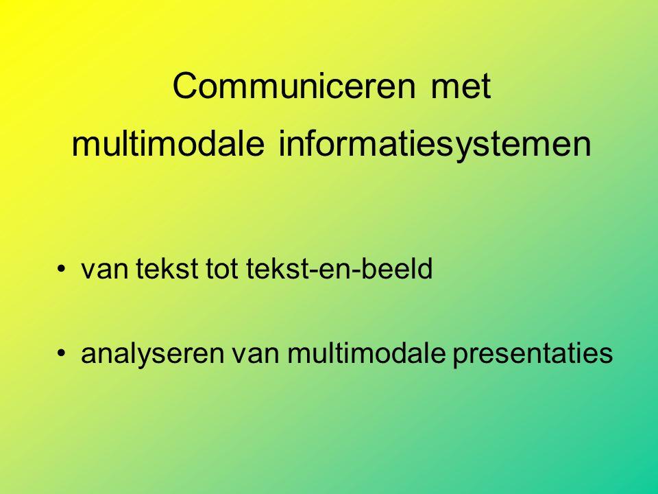 Communiceren met multimodale informatiesystemen van tekst tot tekst-en-beeld analyseren van multimodale presentaties