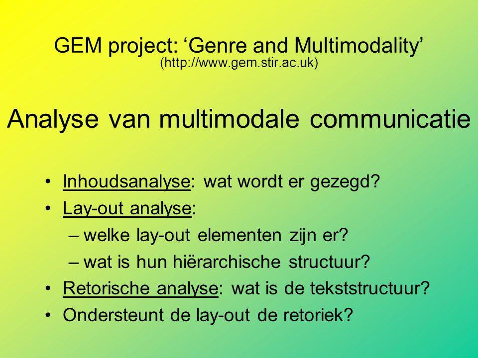 GEM project: 'Genre and Multimodality' (http://www.gem.stir.ac.uk) Analyse van multimodale communicatie Inhoudsanalyse: wat wordt er gezegd.