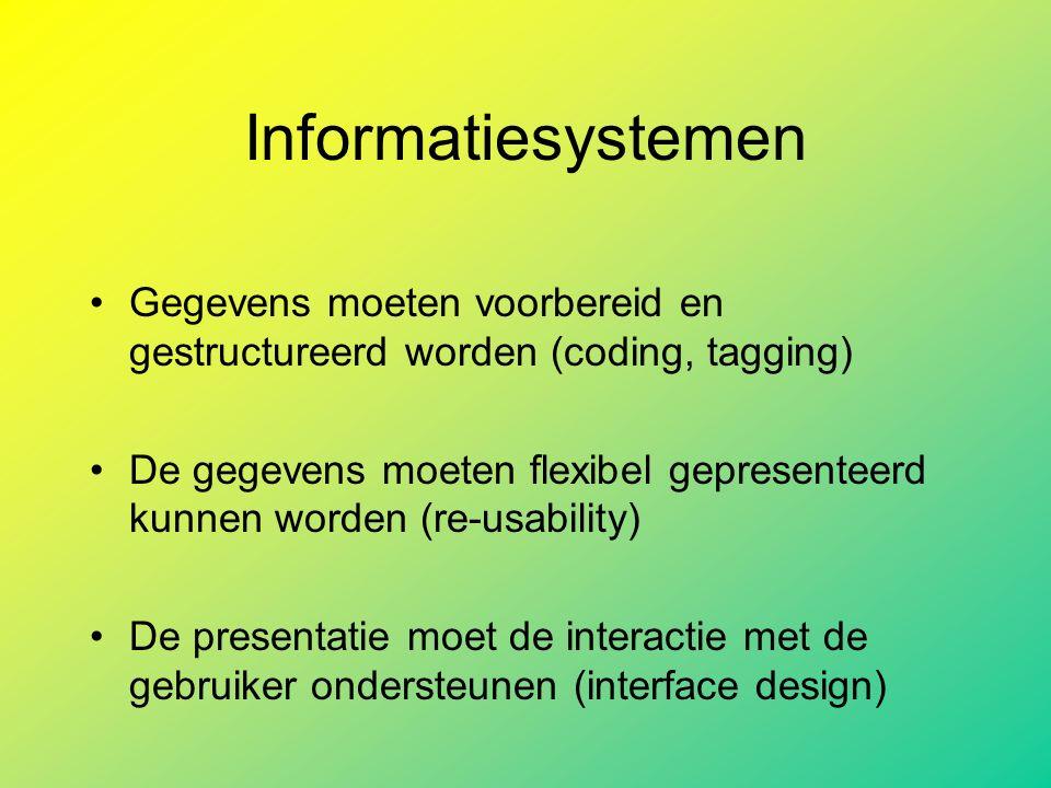 Informatiesystemen Gegevens moeten voorbereid en gestructureerd worden (coding, tagging) De gegevens moeten flexibel gepresenteerd kunnen worden (re-usability) De presentatie moet de interactie met de gebruiker ondersteunen (interface design)