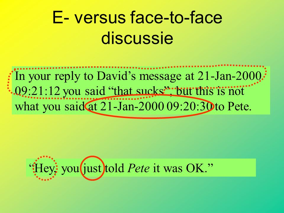 E- versus face-to-face discussie In your reply to David's message at 21-Jan-2000 09:21:12 you said that sucks , but this is not what you said at 21-Jan-2000 09:20:30 to Pete.