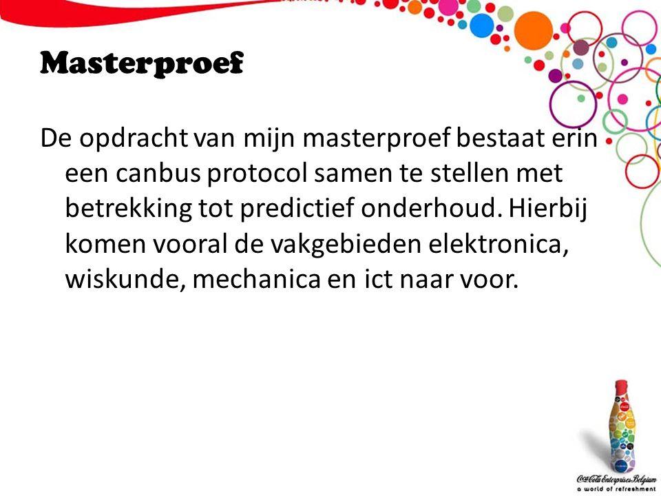 Masterproef De opdracht van mijn masterproef bestaat erin een canbus protocol samen te stellen met betrekking tot predictief onderhoud.