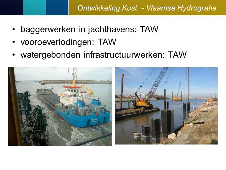 Ontwikkeling Kust - Vlaamse Hydrografie baggerwerken in jachthavens: TAW vooroeverlodingen: TAW watergebonden infrastructuurwerken: TAW
