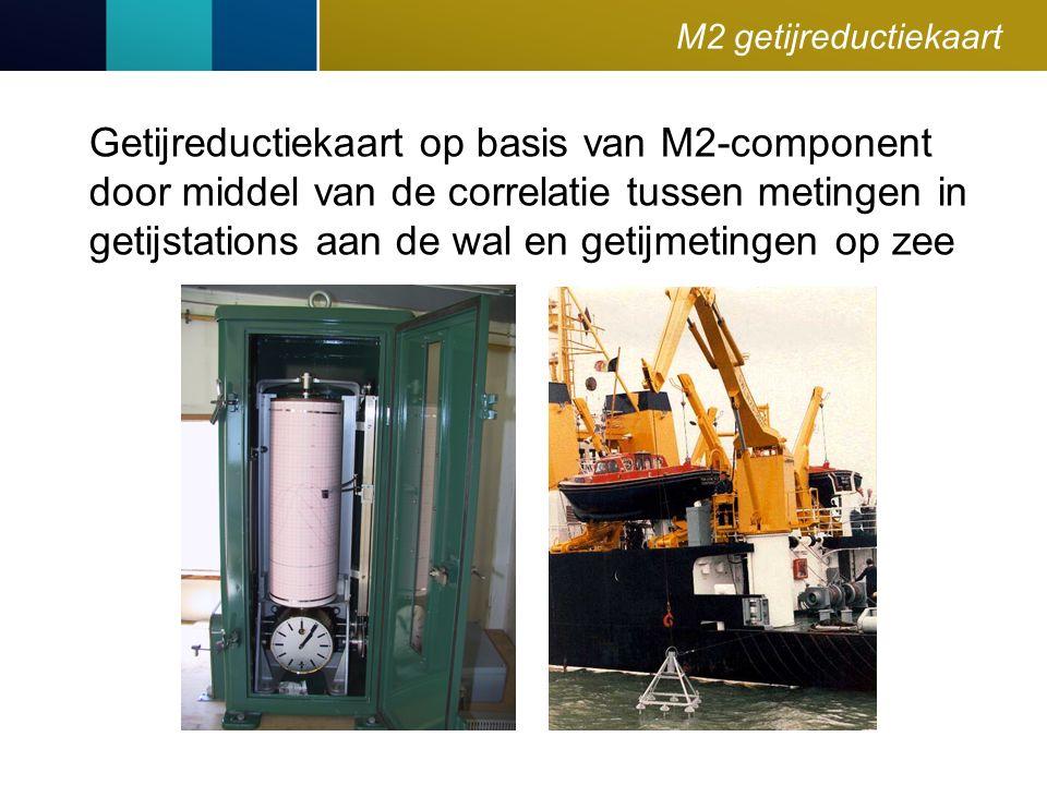 M2 getijreductiekaart Getijreductiekaart op basis van M2-component door middel van de correlatie tussen metingen in getijstations aan de wal en getijmetingen op zee