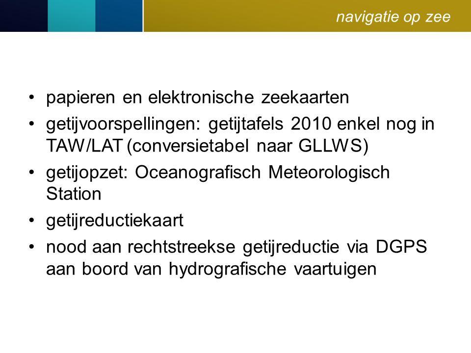 navigatie op zee papieren en elektronische zeekaarten getijvoorspellingen: getijtafels 2010 enkel nog in TAW/LAT (conversietabel naar GLLWS) getijopze