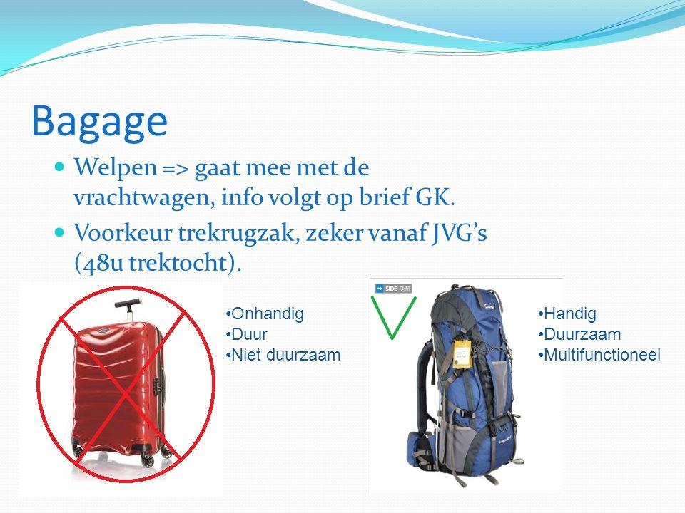 Bagage Welpen => gaat mee met de vrachtwagen, info volgt op brief GK.