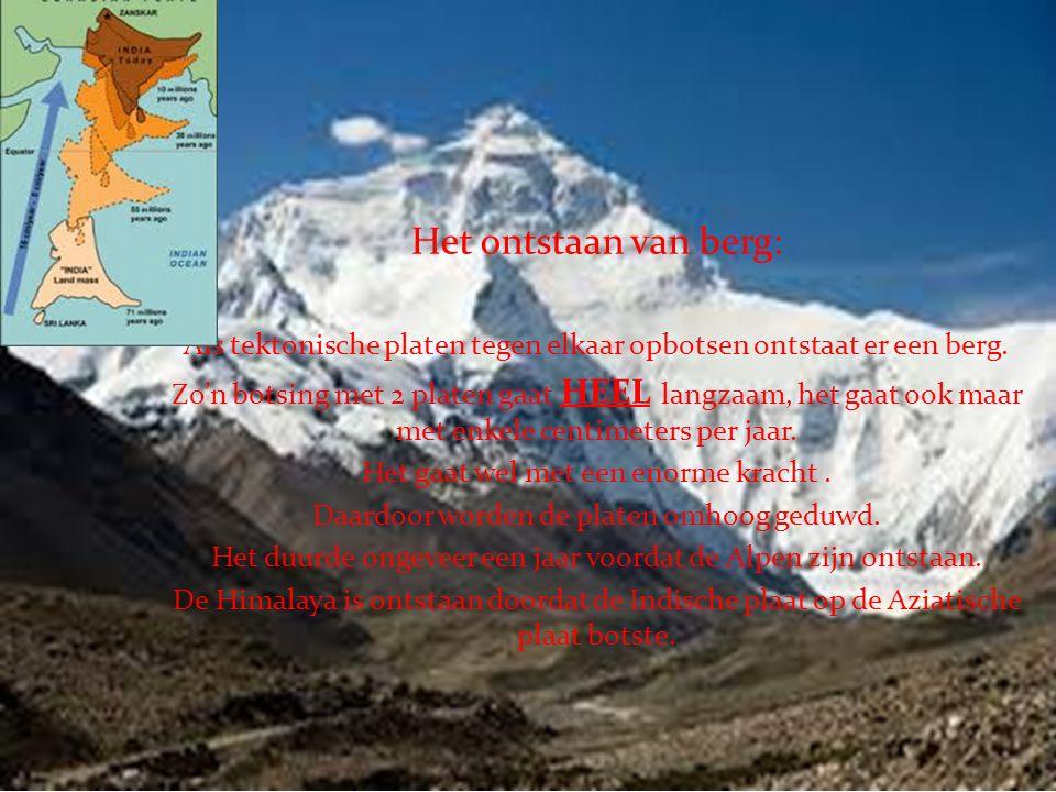 Bergen Het ontstaan van berg: Als tektonische platen tegen elkaar opbotsen ontstaat er een berg.