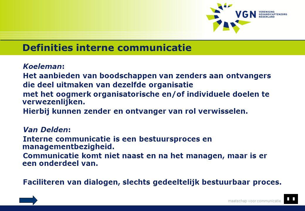 maatschap voor communicatie Definities interne communicatie Koeleman: Het aanbieden van boodschappen van zenders aan ontvangers die deel uitmaken van